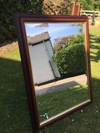 Mirror 60cm x 44cm with 5cm deep dark wood surround