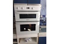 Hotpoint white double fan oven, excellent condition, hardly used and very easy to operate.