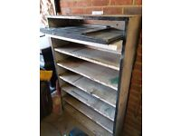 Industrial steel shelving unit. Had a few of these and they look great stripped back to bare metal.