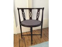 Wooden antique style chair with padded seat ideal upholstery project,