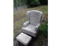 Quality hsl High Back Chair and Foot Stool FREE delivery