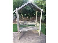 Wooden garden bench With Canopy needs tlc