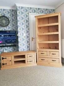 Soild wood tv unit and bookshelves