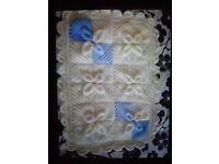 Brand new handmade baby aran shawl