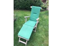 Two wooden Steamer chairs with cushions