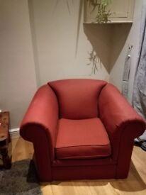 Comfy, maroon armchair