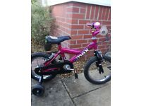 "Pink and black Raleigh mini max 14"" bike with stabilisers"