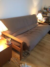 Solid oak 3 seater Futon from The Futon Company with fluffy Mattress and tea-time side tables
