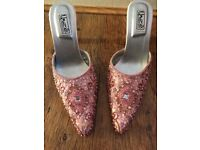 Unze embroidered bridal shoes