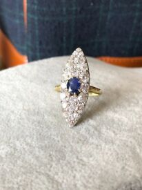 Antique Diamond and Sapphire Ring, 4ct Diamonds, 1.2ct Sapphire. 18k. Great Quality