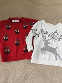 6-9 Month 2x Christmas jumpers