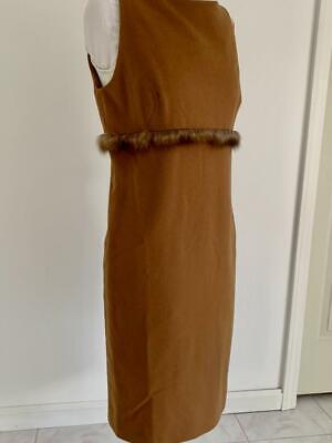 J. MENDEL Chestnut Brown Cashmere Fur Motif Empire Waist Sheath Dress US 8