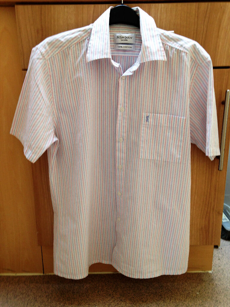 ONLY BEEN WORN ONCEMens size Medium white,pink and blue pinstripe short sleeve YSL shirtin Sutton Coldfield, West MidlandsGumtree - ONLY BEEN WORN ONCE Mens size Medium white, pink & blue pinstripe short sleeve YSL shirt. Collared. Buttons down front. 100% Cotton. Paid £275.00 PLEASE CHECK OUT OTHER ITEMS IM SELLING