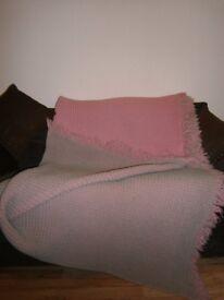 Vintage Welsh Wool Honeycomb Pink & Mint Waffle Blanket with Fringe