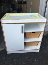 Cotbed, wardrobe & changing unit - White & beech wood
