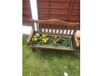 Wooden garden bench planter
