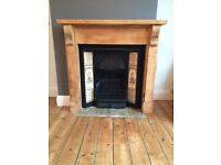 Victorian Cast Iron Fireplace Tile Inlays Pine Surround