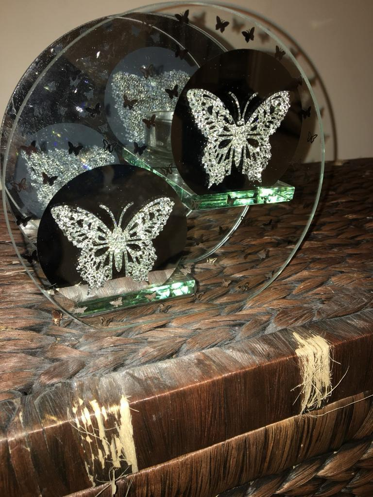 Mirrored butterfly tea light/candle holder