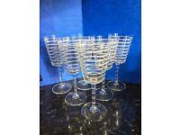 Set of 6 x Glass Wine Goblets - White Striped Wine Glasses