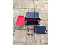 Water craft fishing seat box with accessories