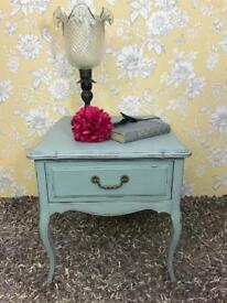 Vintage side / end table with drawer Queen Anne Style duck egg blue colour