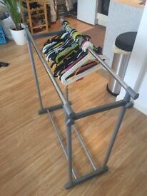 Extendable clothing rack/ with all hangers