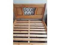 Double solid pine bed base only