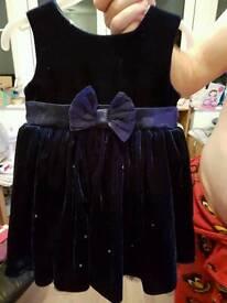 Little deep blue crushed velvet dress 12 to 18 months