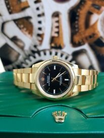 Gold Black Face Rolex Oyster Xomes Rolex Boxed with Paperwork