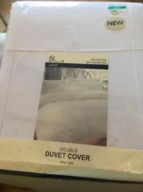Double duvet cover, white with silver embroidered leaf
