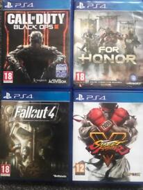 Street fighter 5, fallout 4, call of duty black ops 3, for honor ps4 game games