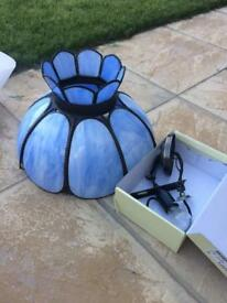 Blue glass light fitting with spares