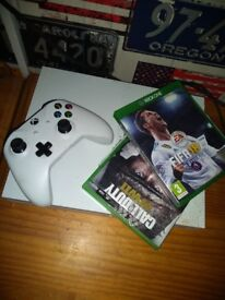 Xbox One S, with controller and 3 games