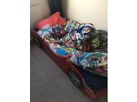 Car single bed frame no mattress slight scratches hence price collection ASAP ready