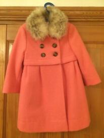 John Lewis Girls Fur Collar Coat