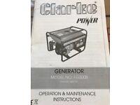 Clarke generator with 240v and 12v socket pull start