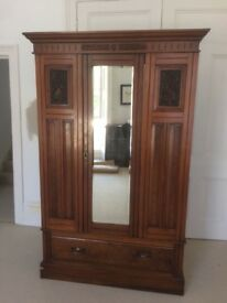 Edwardian 20thC Carved Wooden Wardrobe Easy Assembly Transport Antique