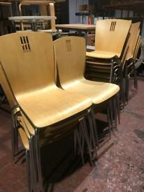 Stackable Beech Bistro Chairs - lightly used
