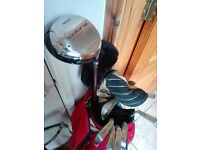 Full set of mens right handed golf clubs,bag and trolley