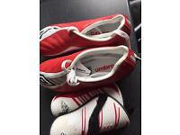 Football boots junior + shin pads size 2