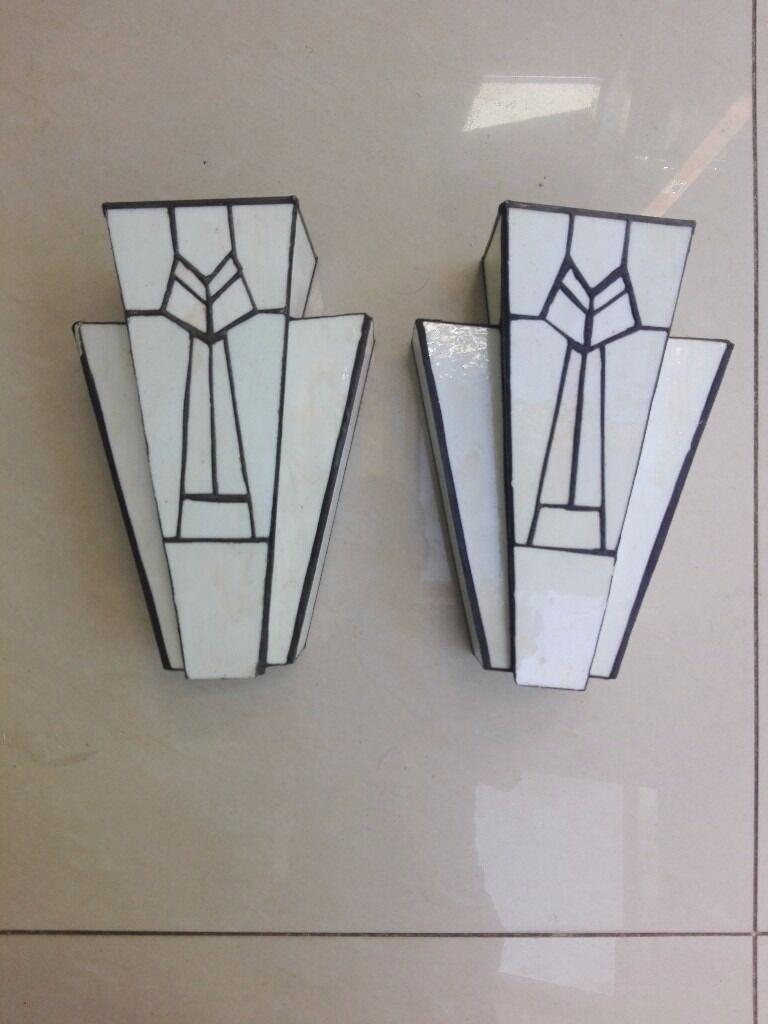 Vintage Art Deco Wall Lights With Mounting Brackets And