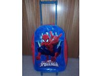 spiderman suitcase on wheels and has pull along handle