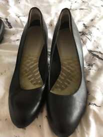 Clark's ladies high heeled leather court shoes