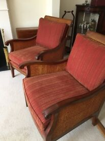 TWO Red Multi York Hundon arm chairs *URGENT*