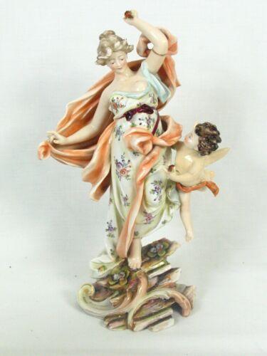 "Antique Volkstedt Richard Eckert Co Dresden Porcelain Putti Cherub & Woman 9"""