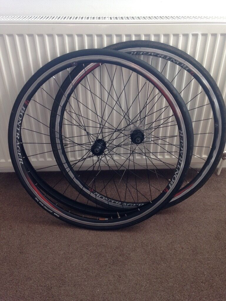 Road bike wheelsin Broughty Ferry, DundeeGumtree - Front and back bontrager wheels, hubs run smooth, rear rim have a signs of use, used as a winter set no longer required. Back wheel take 8,9 speed cassette possible 10 but never try it. Comes with slick vittoria tyres and one all season tyre. Can...