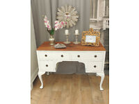Beautiful shabby chic walnut desk/dressing table by Eclectivo