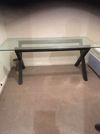 Available today! Dark wood base, glass top dining table from Habitat!