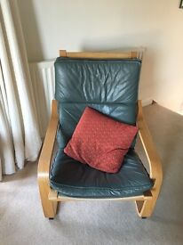 Chair with lovely green leather look covering