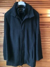Mens Medium Wool Mix Lined Black Overcoat